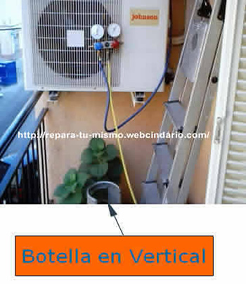 Botella R22 en vertical
