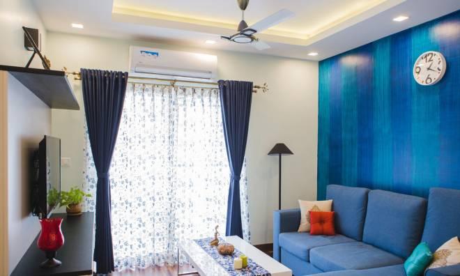 Consola de aire acondicionado en el salón de una casa