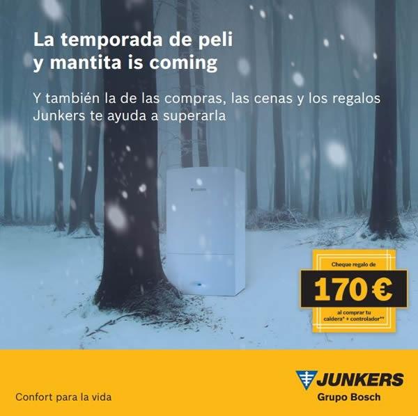 Junkers premia la instalación de sus calderas y controladores con cheques regalo de 170 euros